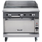 Vulcan VGM36C-NAT V Series Natural Gas 36 inch Heavy-Duty Manual Range with Griddle Top and Convection Oven - 122,000 BTU
