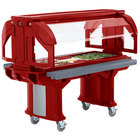 Cambro VBRHD5158 Hot Red 5' Versa Food / Salad Bar with Heavy Duty Casters