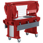 Cambro VBRHD5158 Hot Red 5' Versa Food / Salad Bar with Heavy-Duty Casters
