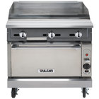 Vulcan VGMT36C-LP V Series 36 inch Liquid Propane Heavy-Duty Thermostatic Range with Griddle Top and Convection Oven - 122,000 BTU