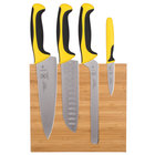 Mercer Culinary M21981YL Millennia® 5-Piece Bamboo Magnetic Board and Yellow Handle Knife Set