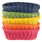 Tablecraft HM1174A Oval Rattan Basket 9 1/4 inch x 6 1/4 inch x 3 1/4 inch Assorted Colors 5/Pack