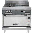 Vulcan V2BG8TC-LP V Series Liquid Propane 36 inch 2 Burner Heavy-Duty Thermostatic Range with 18 inch Right Side Griddle and Convection Oven Base - 128,000 BTU