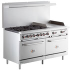 Cooking Performance Group S60-G24-N Natural Gas 6 Burner 60 inch Range with 24 inch Griddle and 2 Standard Ovens - 280,000 BTU