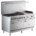 Cooking Performance Group S60-G24-L Liquid Propane 6 Burner 60 inch Range with 24 inch Griddle and 2 Standard Ovens - 280,000 BTU