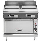 Vulcan V2P36C-NAT V Series Natural Gas 36 inch Heavy-Duty Range with 2 Plancha Tops and Convection Oven - 67,000 BTU