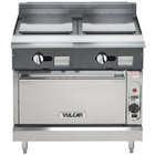 Vulcan V2P36C-LP V Series Liquid Propane 36 inch Heavy-Duty Range with 2 Plancha Tops and Convection Oven - 67,000 BTU