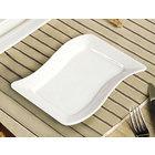 CAC SOH-34 Soho 9 inch x 6 1/4 inch Ivory (American White) Rectangular Stoneware Platter - 24/Case