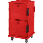 Cambro UPC1600SP158 Ultra Camcarts® Hot Red Insulated Food Pan Carrier with Heavy-Duty Casters and Security Package - Holds 24 Pans