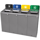 Rubbermaid 1961779 Configure 60 Gallon Stenni Gray 4 Stream Landfill, Paper, Cans, and Organic Waste Indoor Waste / Recycling Station with Signs