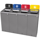 Rubbermaid 1961777 Configure 60 Gallon Stenni Gray 4 Stream Landfill, Paper, Plastic, and Cans Indoor Waste / Recycling Station with Signs