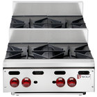 Wolf AHP424U-NAT Achiever Natural Gas 24 inch 4 Burner Step Up Countertop Range - 120,000 BTU