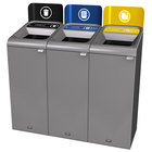 Rubbermaid 1961776 Configure 45 Gallon Stenni Gray 3 Stream Landfill, Paper, and Cans Indoor Waste / Recycling Station with Signs