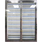 Styleline CL3072-NT Classic Plus 30 inch x 72 inch Walk-In Cooler Merchandiser Doors with Shelving - Anodized Bright Silver, Left Hinge - 2/Set
