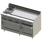 Blodgett BR-2-48GT-2436C-LP Liquid Propane 2 Burner 60 inch Thermostatic Range with 48 inch Right Side Griddle, 1 Convection Oven, and 1 Standard Oven - 216,000 BTU