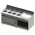 Blodgett BR-8-24GT-36-NAT Natural Gas 8 Burner 72 inch Thermostatic Range with 24 inch Right Griddle, 1 Standard Oven, and 1 Cabinet Base - 318,000 BTU