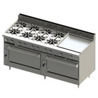 Blodgett BR-8-24G-3636-NAT Natural Gas 8 Burner 72 inch Manual Range with 24 inch Right Griddle and Double Standard Oven Base - 348,000 BTU