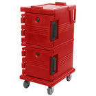 Cambro UPC600158 Ultra Camcarts® Hot Red Insulated Food Pan Carrier - Holds 8 Pans
