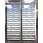 Styleline CL2672-HH 20//20 Plus 26 inch x 72 inch Walk-In Cooler Merchandiser Doors with Shelving - Anodized Bright Silver, Right Hinge - 2/Set