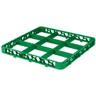 Carlisle RE9C09 OptiClean 9 Compartment Green Color-Coded Glass Rack Extender