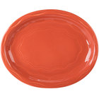 Syracuse China 903034008 Cantina 11 5/8 inch Cayenne Carved Porcelain Oval Platter - 12/Case