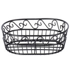 American Metalcraft OSC9 Wrought Iron Oval Basket with Scroll Design - 6 3/4 inch x 9 inch