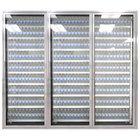 Styleline ML3075-NT MOD//Line 30 inch x 75 inch Modular Walk-In Cooler Merchandiser Door with Shelving - Bright Silver Smooth, Right Hinge - 3/Set