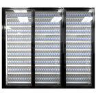 Styleline ML3075-HH MOD//Line 30 inch x 75 inch Modular High Humidity Walk-In Cooler Merchandiser Doors with Shelving - Satin Black Smooth, Left Hinge - 3/Set
