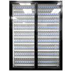 Styleline ML2475-LT MOD//Line 24 inch x 75 inch Modular Walk-In Freezer Merchandiser Doors with Shelving - Satin Black Smooth, Left Hinge - 2/Set