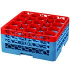 Carlisle RW20-2C410 OptiClean NeWave 20 Compartment Red Color-Coded Glass Rack with 3 Extenders