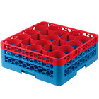 Carlisle RW20-1C410 OptiClean NeWave 20 Compartment Red Color-Coded Glass Rack with 2 Extenders