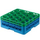 Carlisle RW20-1C413 OptiClean NeWave 20 Compartment Green Color-Coded Glass Rack with 2 Extenders