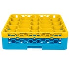 Carlisle RW20-C411 OptiClean NeWave 20 Compartment Yellow Color-Coded Glass Rack with 1 Integrated Extender
