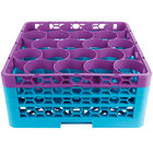 Carlisle RW20-2C414 OptiClean NeWave 20 Compartment Lavender Color-Coded Glass Rack with 3 Extenders