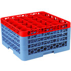 Carlisle RW30-3C410 OptiClean NeWave 30 Compartment Red Color-Coded Glass Rack with 4 Extenders