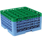Carlisle RW30-3C413 OptiClean NeWave 30 Compartment Green Color-Coded Glass Rack with 4 Extenders