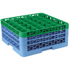 Carlisle RW30-2C413 OptiClean NeWave 30 Compartment Green Color-Coded Glass Rack with 3 Extenders