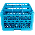 Carlisle RG9-514 OptiClean 9 Compartment Blue Glass Rack with 5 Extenders