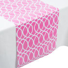Creative Converting 317316 14 inch x 84 inch Candy Pink and White Plastic Table Runner - 12/Case