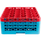 Carlisle RW30-2C410 OptiClean NeWave 30 Compartment Red Color-Coded Glass Rack with 3 Extenders