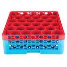 Carlisle RW30-1C410 OptiClean NeWave 30 Compartment Red Color-Coded Glass Rack with 2 Extenders
