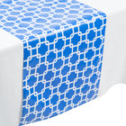Creative Converting 317330 14 inch x 84 inch Cobalt Blue and White Plastic Table Runner - 12/Case