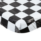 Creative Converting 37497 Stay Put 29 inch x 72 inch Black Check Plastic Table Cover - 12/Case