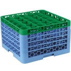 Carlisle RW30-4C413 OptiClean NeWave 30 Compartment Green Color-Coded Glass Rack with 5 Extenders