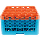 Carlisle RW30-3C412 OptiClean NeWave 30 Compartment Orange Color-Coded Glass Rack with 4 Extenders