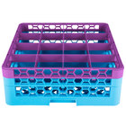 Carlisle RG16-2C414 OptiClean 16 Compartment Lavender Color-Coded Glass Rack with 2 Extenders