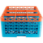 Carlisle RG9-4C412 OptiClean 9 Compartment Orange Color-Coded Glass Rack with 4 Extenders