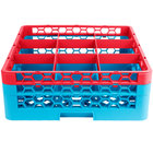 Carlisle RG9-2C410 OptiClean 9 Compartment Red Color-Coded Glass Rack with 2 Extenders