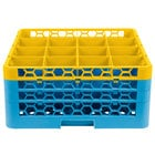 Carlisle RG16-3C411 OptiClean 16 Compartment Yellow Color-Coded Glass Rack with 3 Extenders