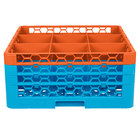 Carlisle RG9-3C412 OptiClean 9 Compartment Orange Color-Coded Glass Rack with 3 Extenders